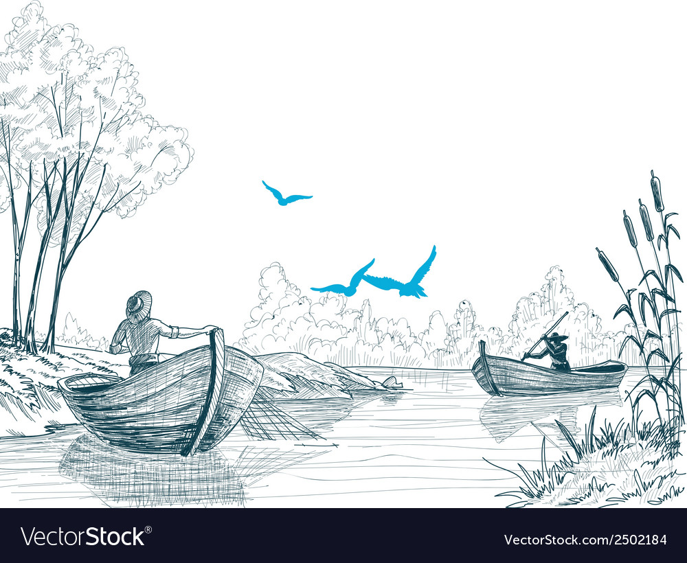 Fisherman in boat sketch delta river or sea vector | Price: 1 Credit (USD $1)