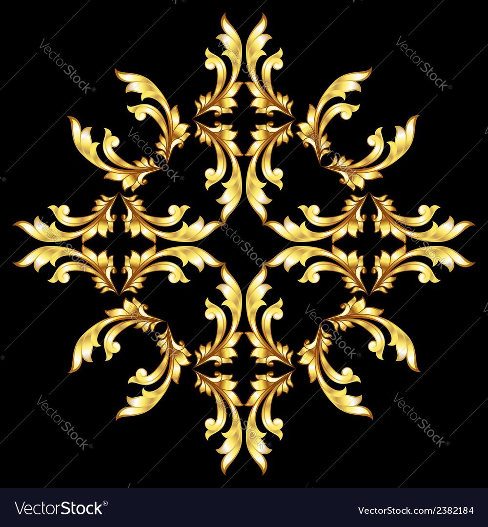 Golden flower pattern vector | Price: 1 Credit (USD $1)