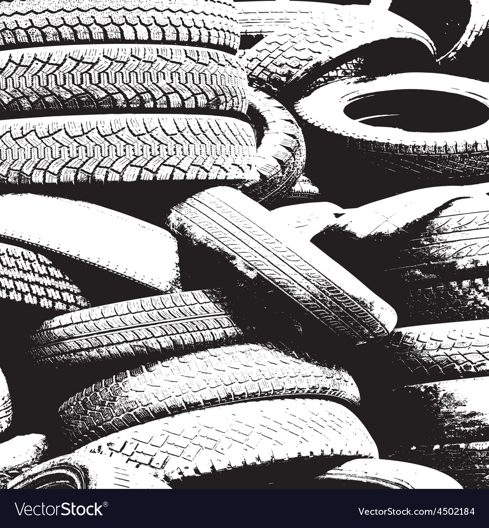 Grunge background with black tire track vector   Price: 1 Credit (USD $1)