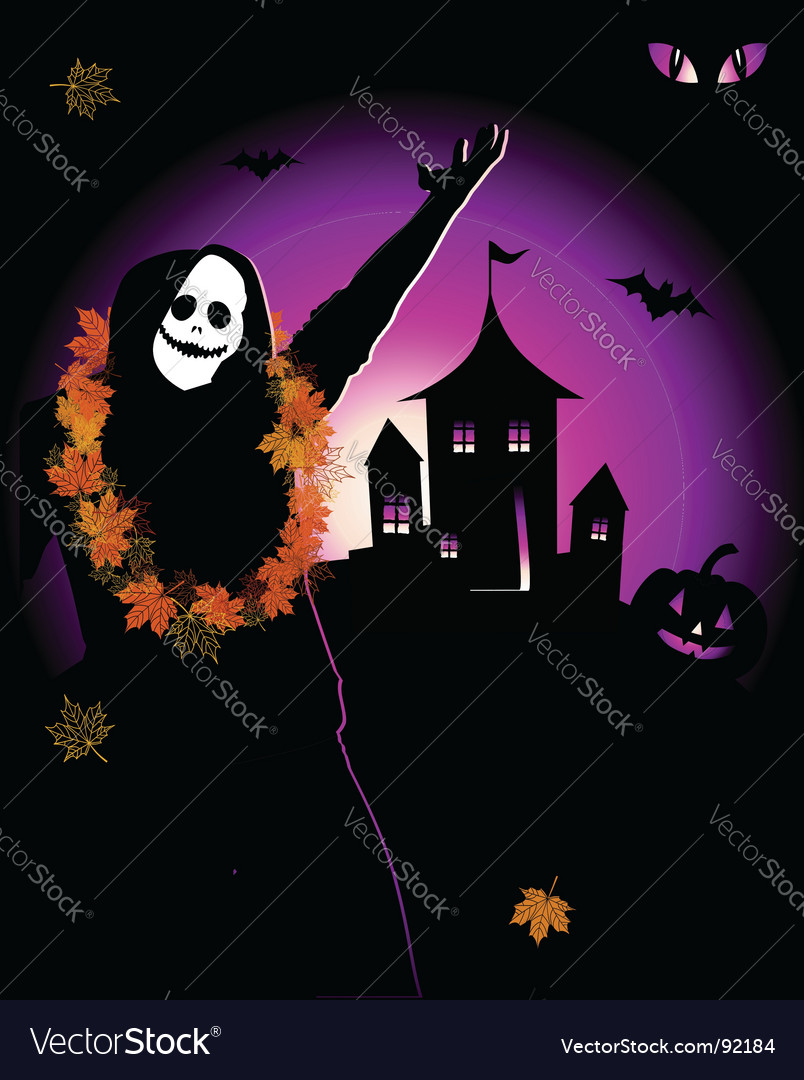 Halloween house on hill vector | Price: 1 Credit (USD $1)