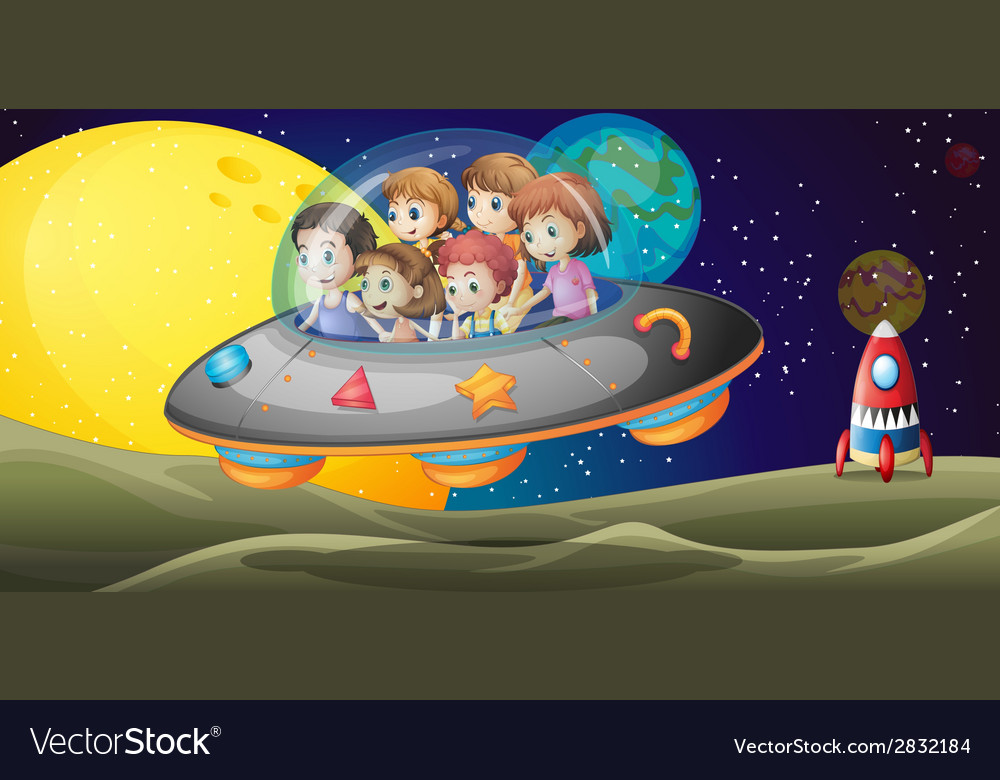 Kids in the outerspace vector | Price: 1 Credit (USD $1)