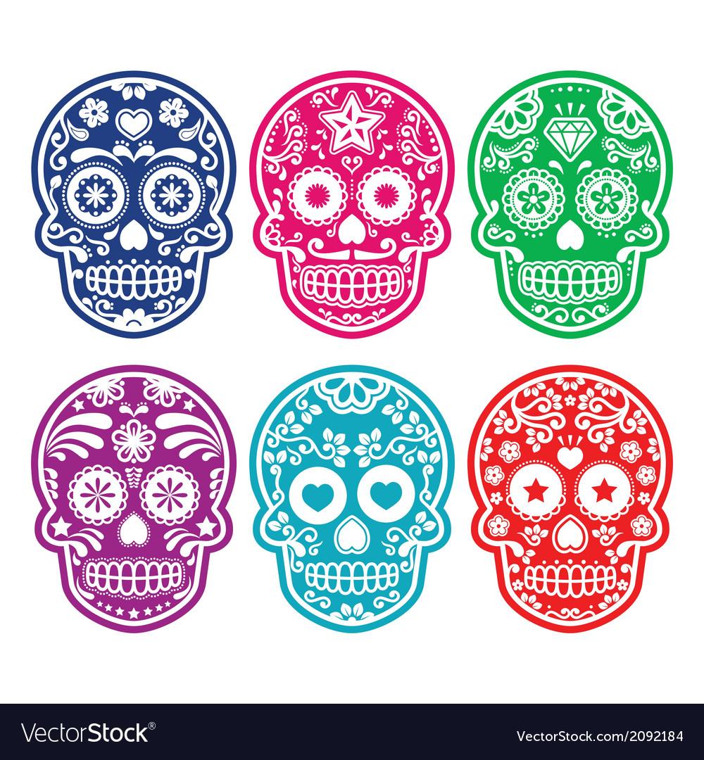 Mexican sugar skull dia de los muertos color icon vector | Price: 1 Credit (USD $1)