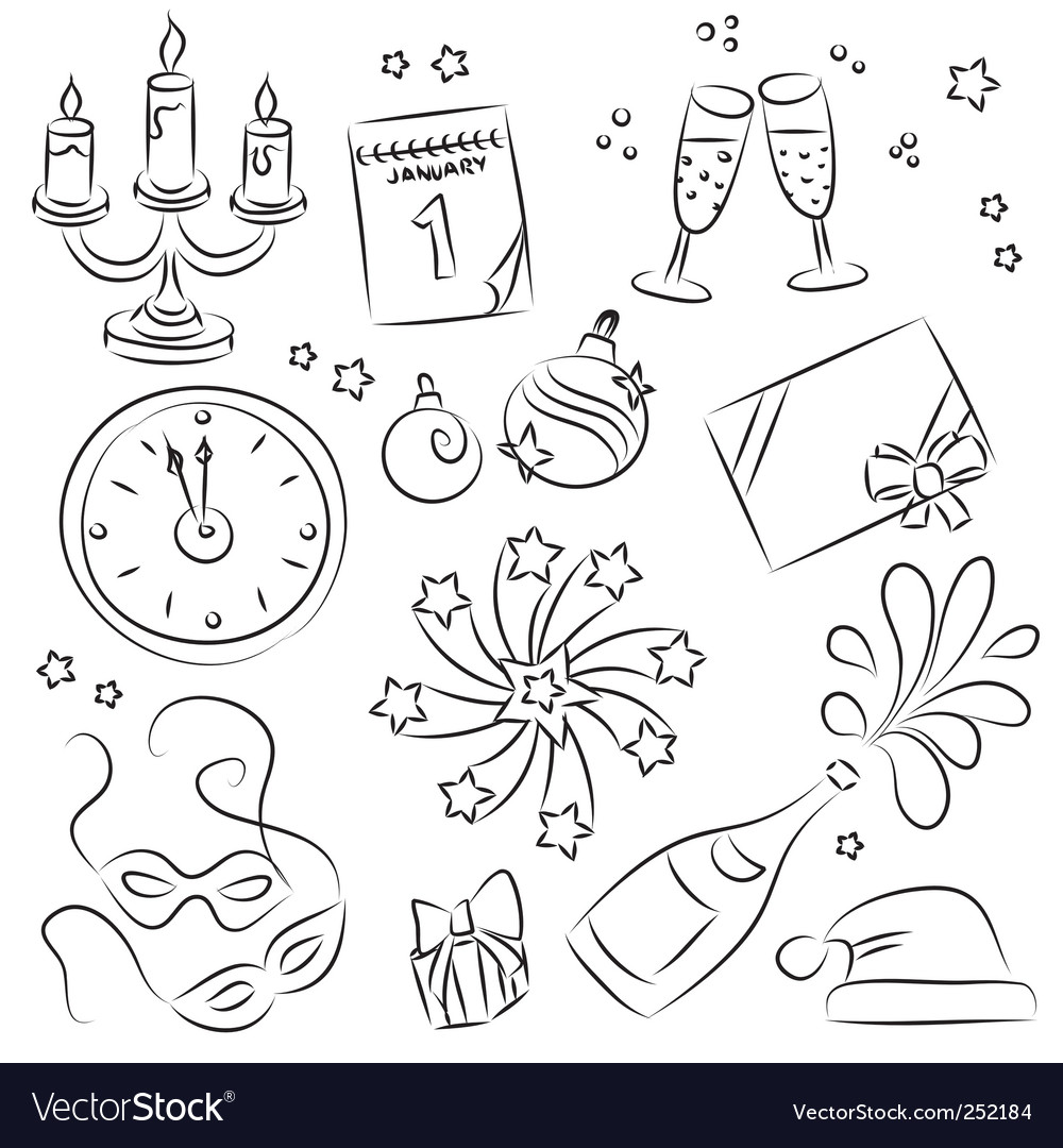 New years eve design elements vector | Price: 1 Credit (USD $1)