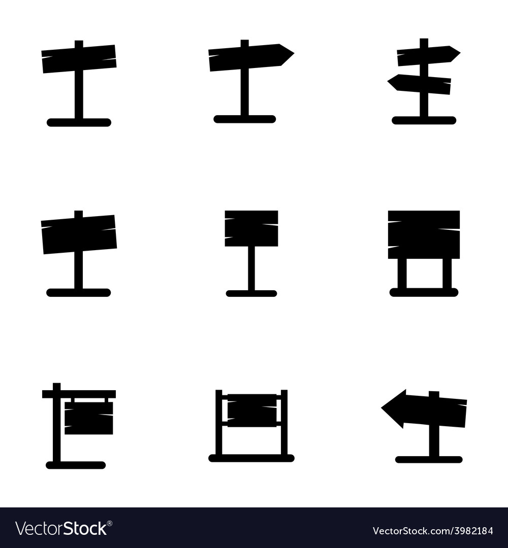 Old wood sing icon set vector | Price: 1 Credit (USD $1)