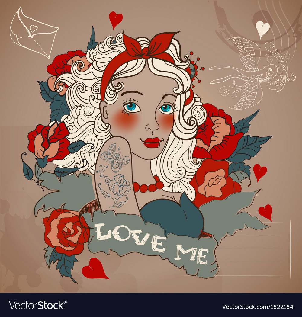 Old-school styled tattoo woman with flowers vector | Price: 1 Credit (USD $1)