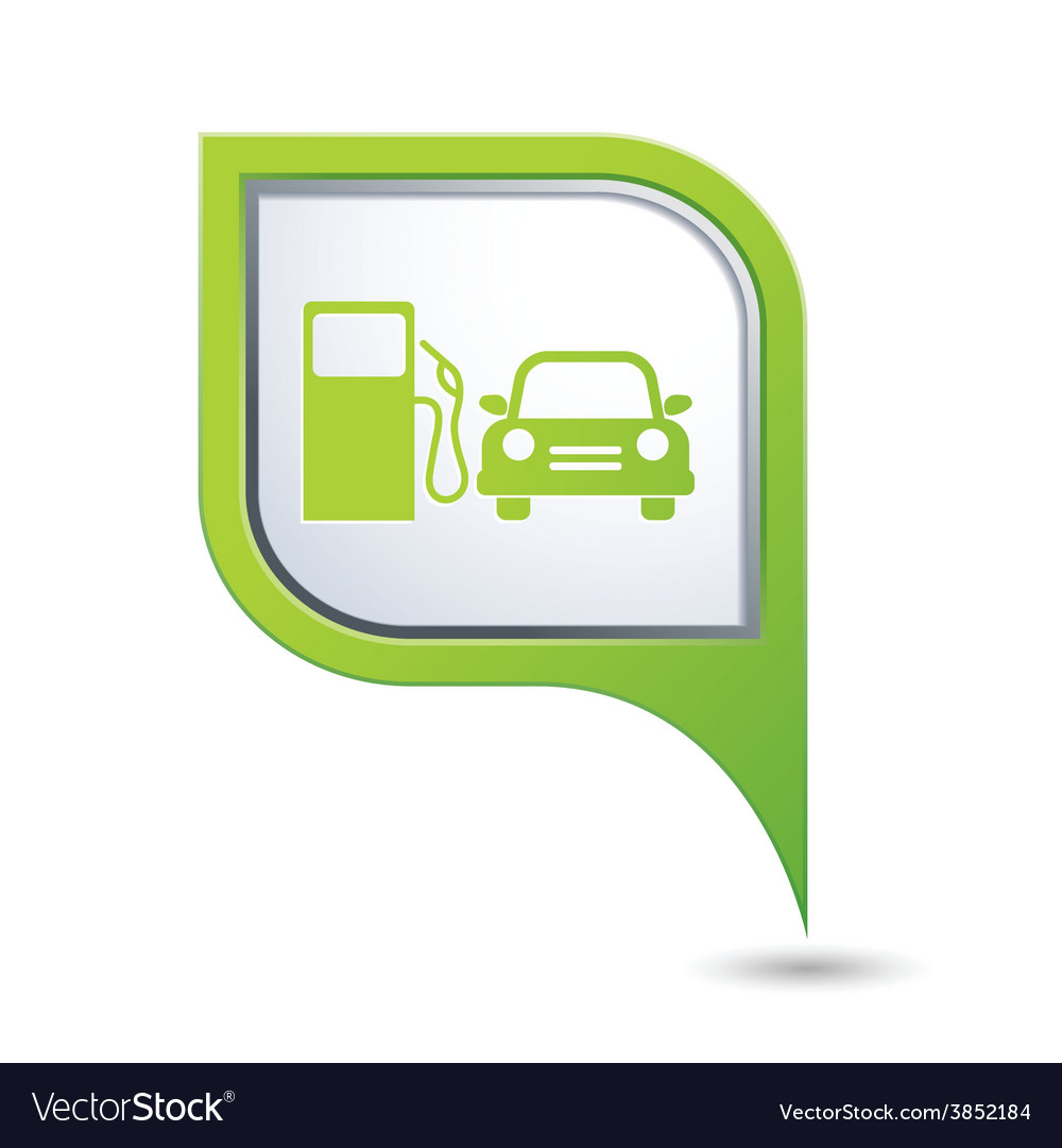 Petrol station and car3 greenpointer vector | Price: 1 Credit (USD $1)