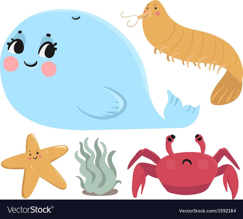 Sea animals collection vector | Price: 1 Credit (USD $1)