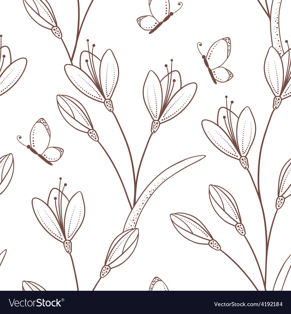 Sketchy seamless pattern with flowers and butterfl vector | Price: 1 Credit (USD $1)