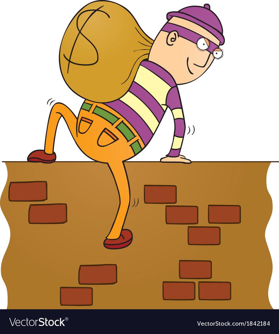 Thief climbing wall vector | Price: 1 Credit (USD $1)