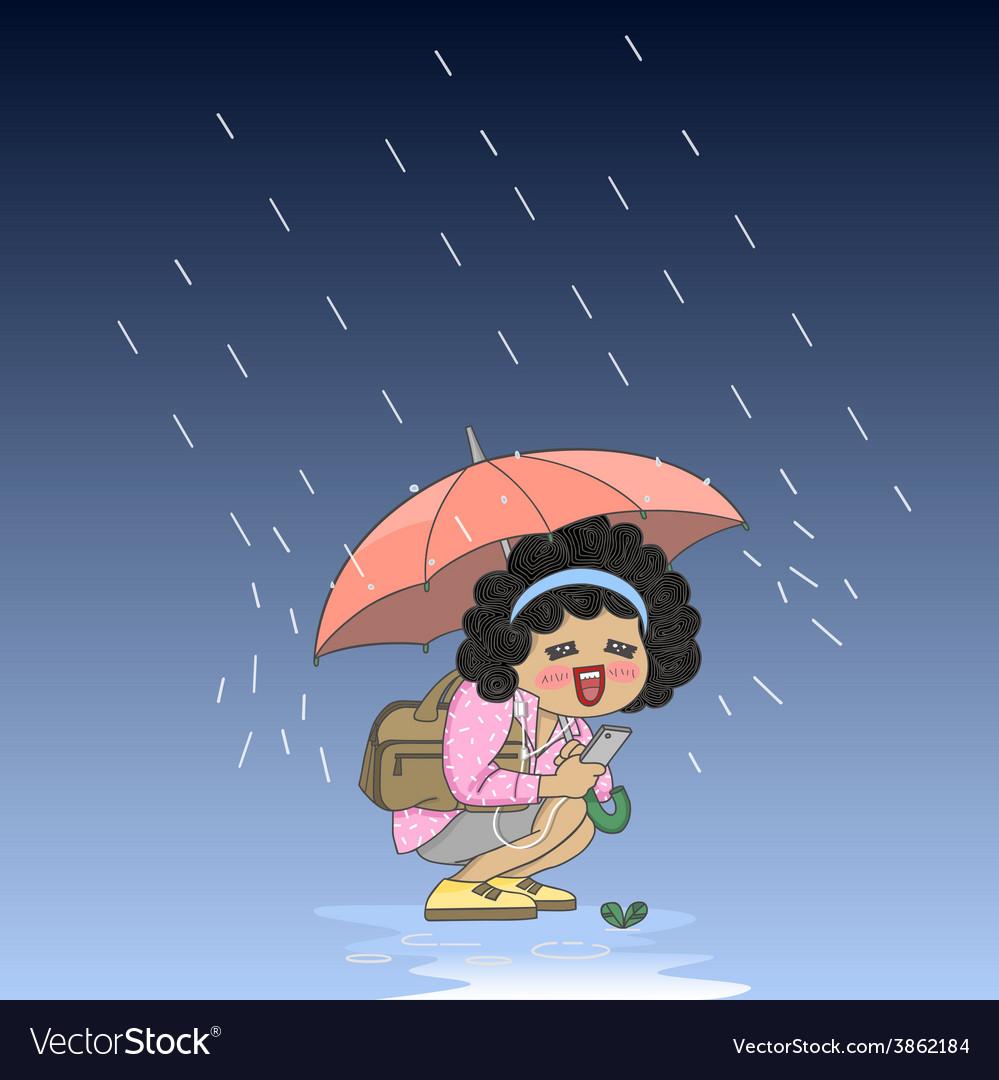 Umbrella girl vector   Price: 1 Credit (USD $1)
