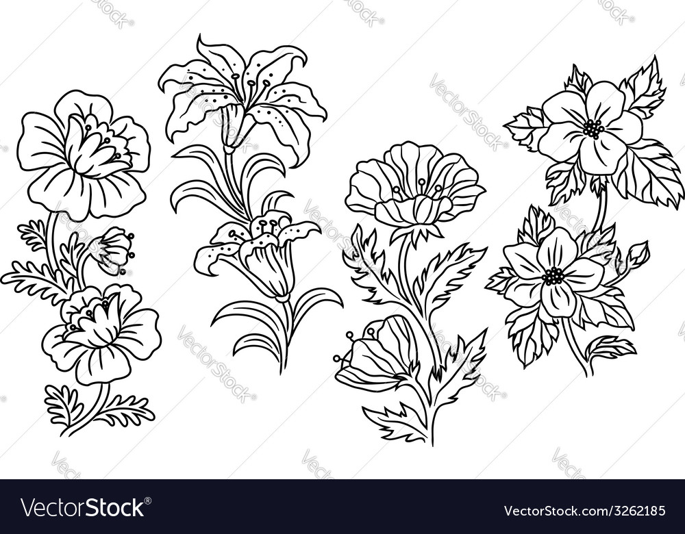 Black and white outline summer flowers vector | Price: 1 Credit (USD $1)
