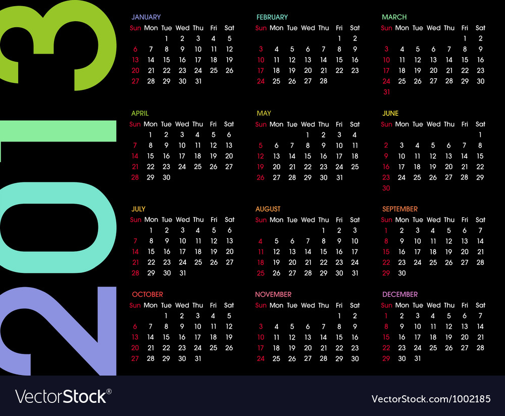 Calendar 2013 4 vector | Price: 1 Credit (USD $1)