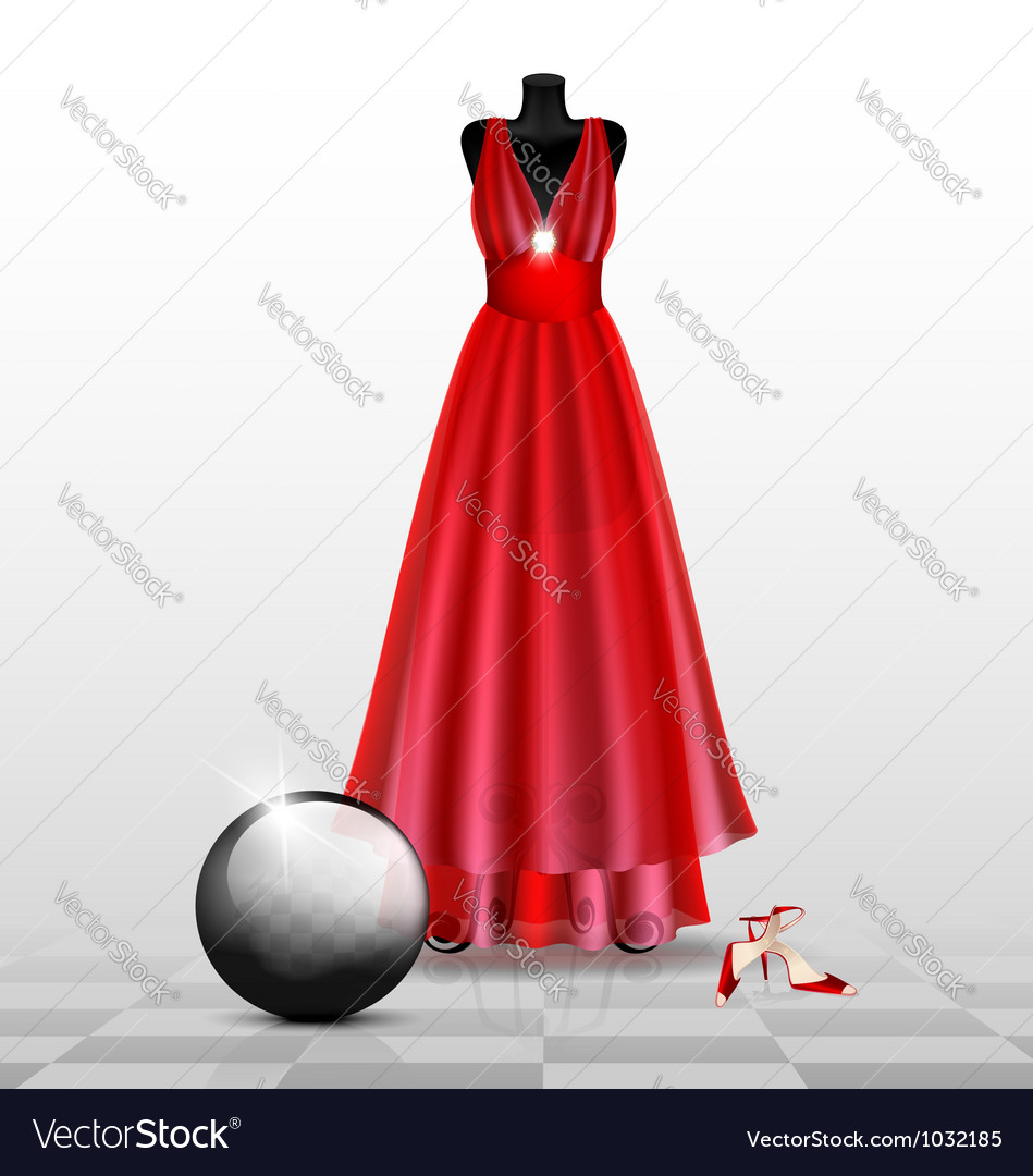Dummy in the red evening dress vector | Price: 1 Credit (USD $1)