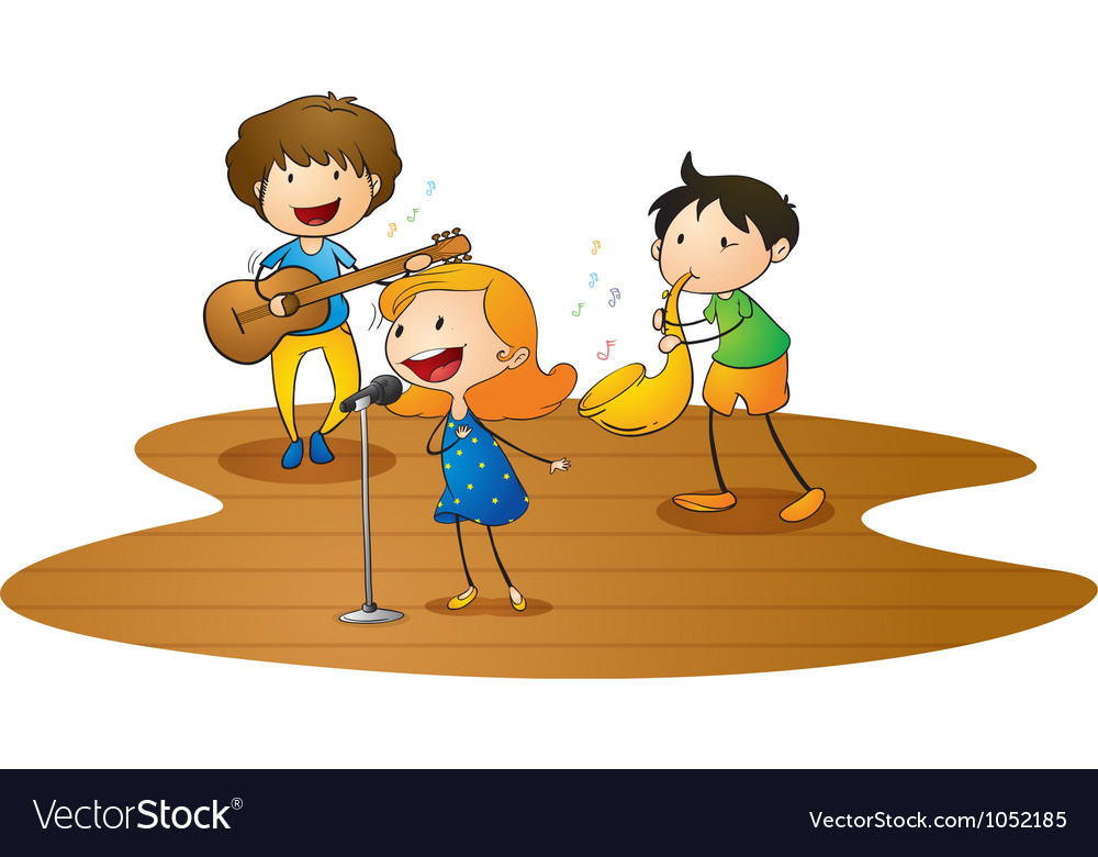 Kids playing music vector | Price: 3 Credit (USD $3)