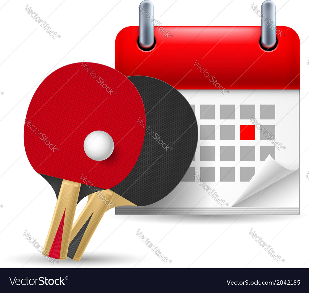 Ping pong rackets and calendar vector | Price: 1 Credit (USD $1)