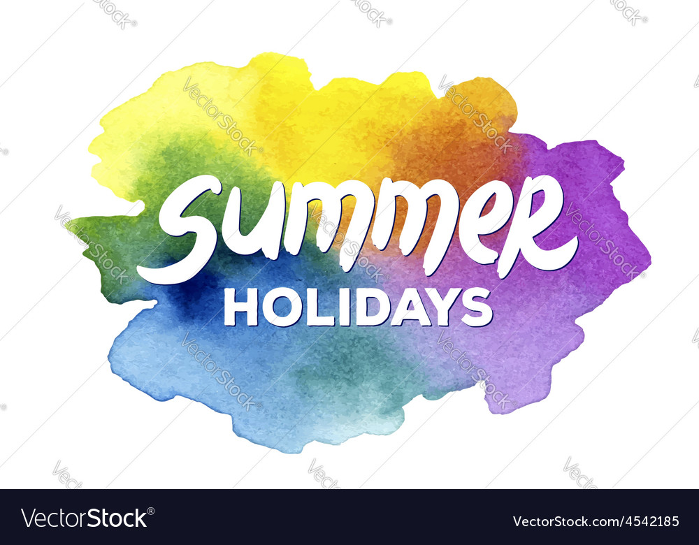 Summer holidays hand drawn lettering on a vector | Price: 1 Credit (USD $1)
