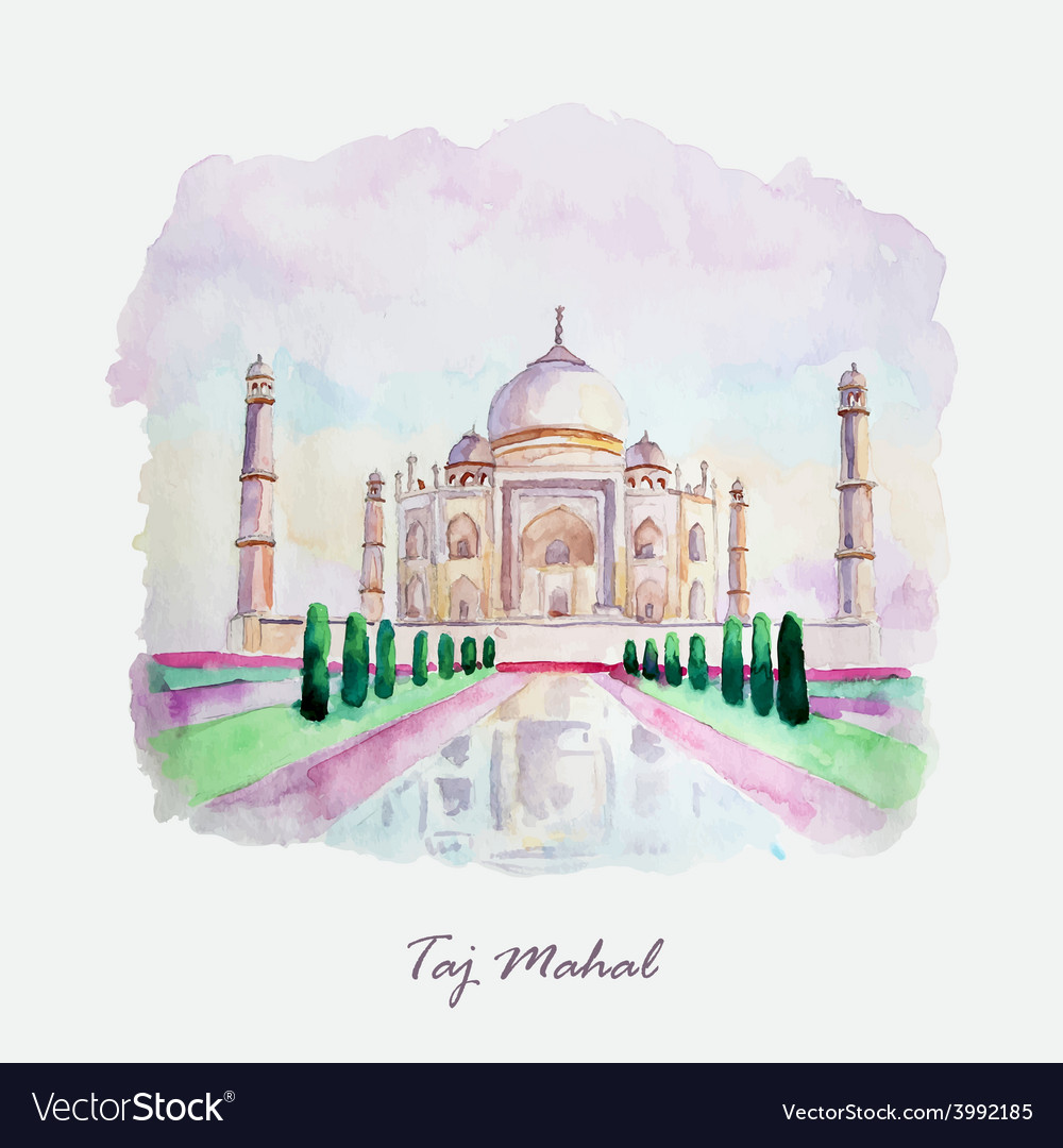 Watercolor taj mahal picture india culture vector | Price: 1 Credit (USD $1)
