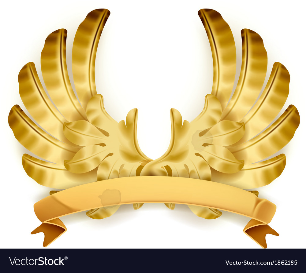 Wings golden emblem vector | Price: 3 Credit (USD $3)