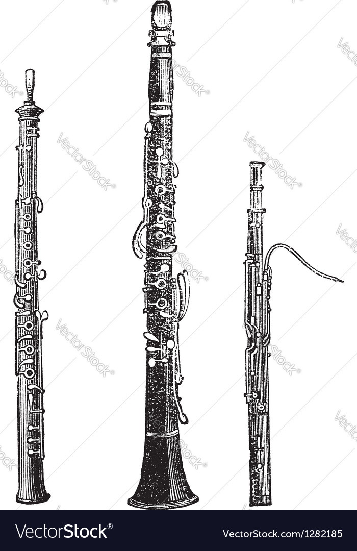 Woodwind instruments vintage engraved vector | Price: 1 Credit (USD $1)