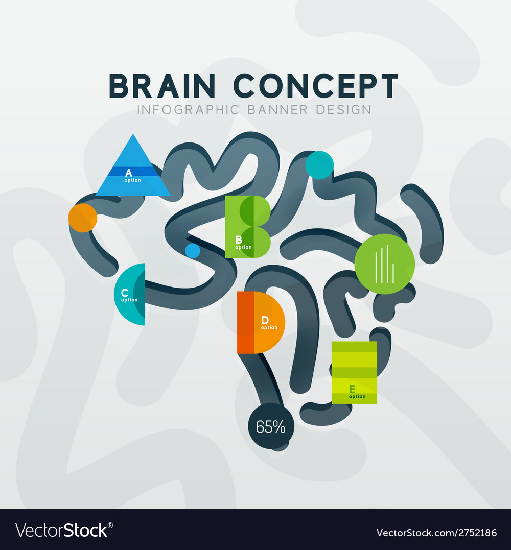 Brain minimal line style infographic banner design vector | Price: 1 Credit (USD $1)