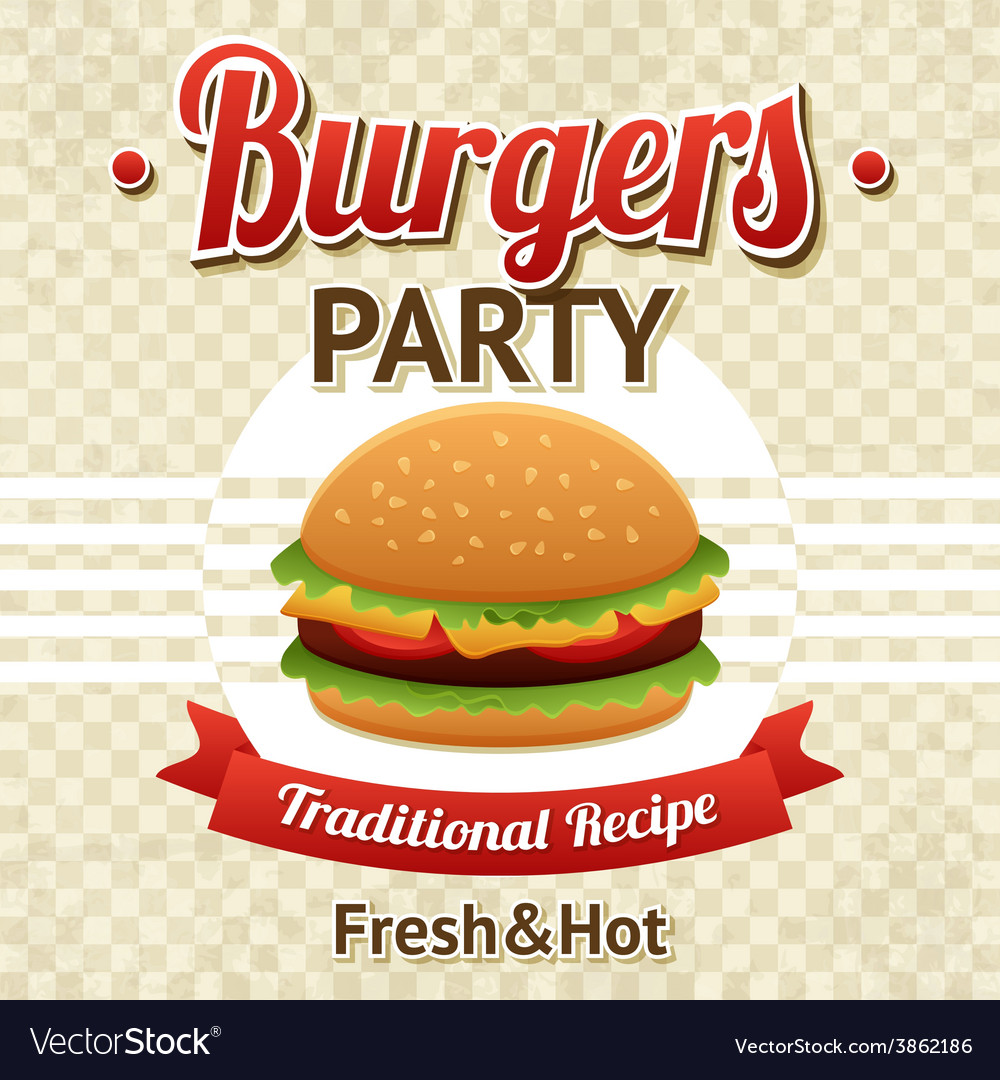 Burger party poster vector