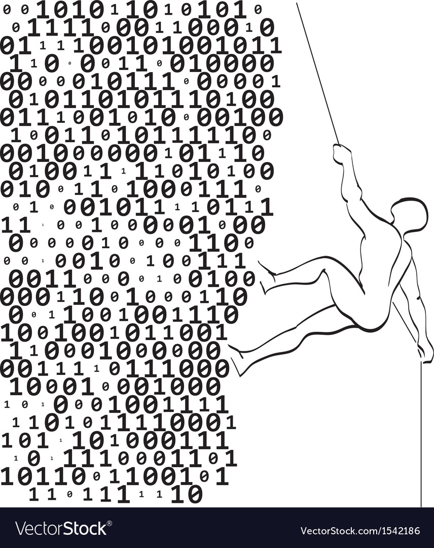 Climber climbs a mountain of digits vector | Price: 1 Credit (USD $1)