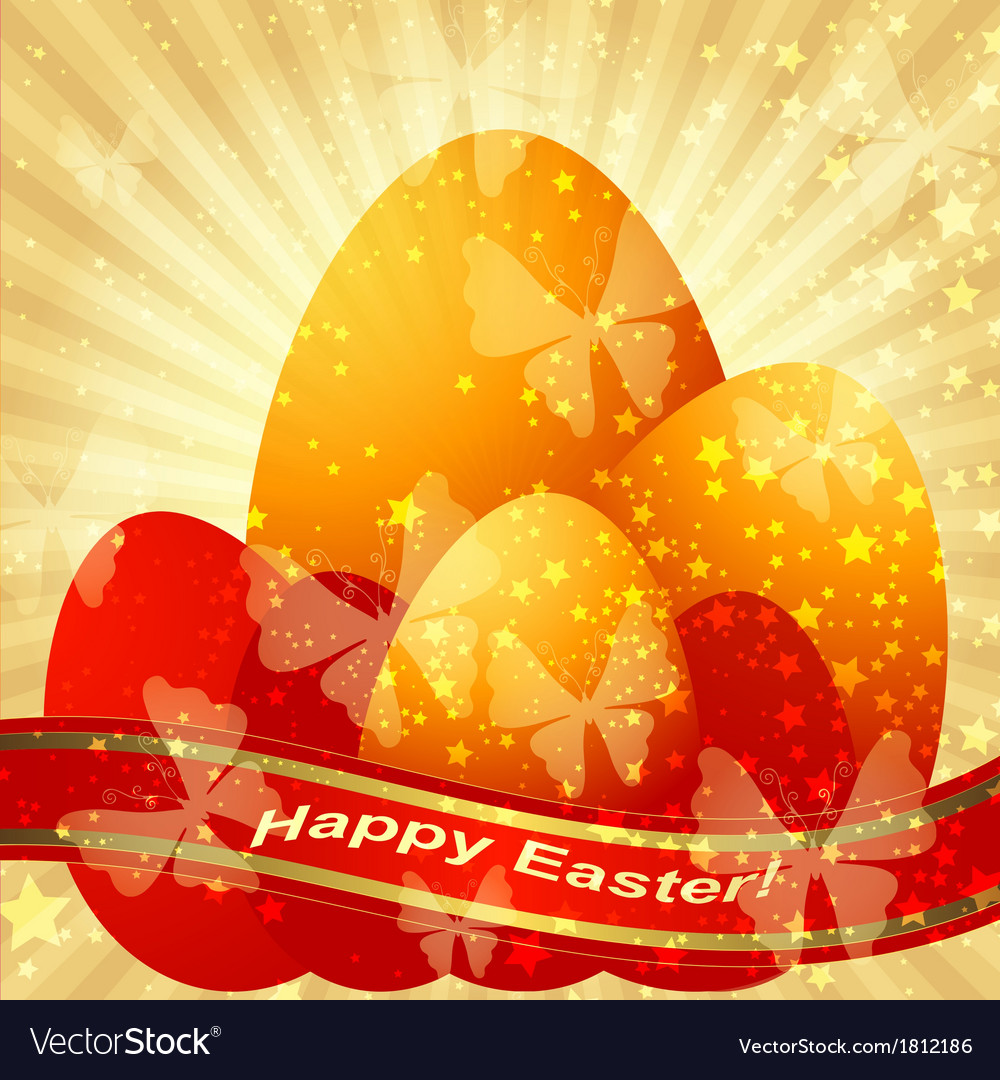 Easter greeting gold card vector | Price: 1 Credit (USD $1)