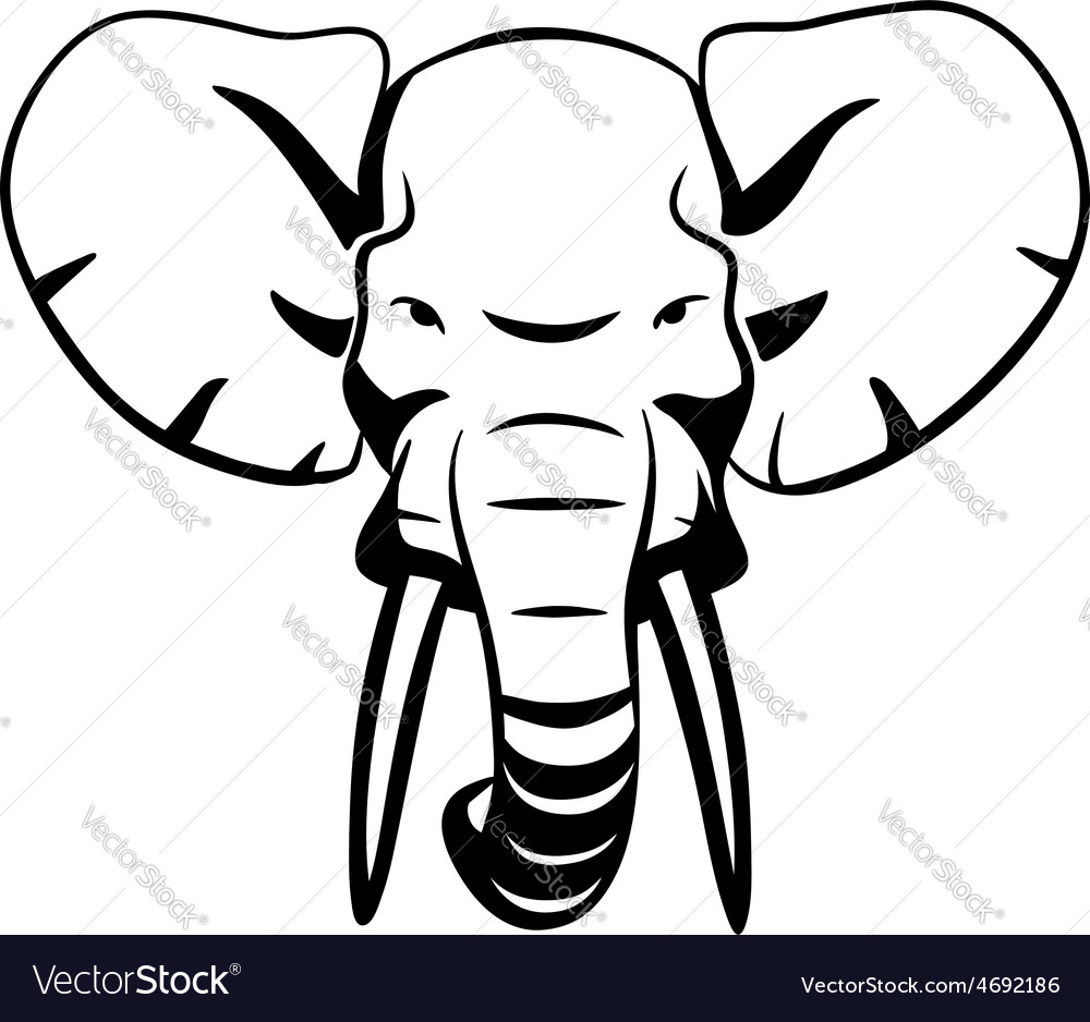 Elephant head vector | Price: 1 Credit (USD $1)