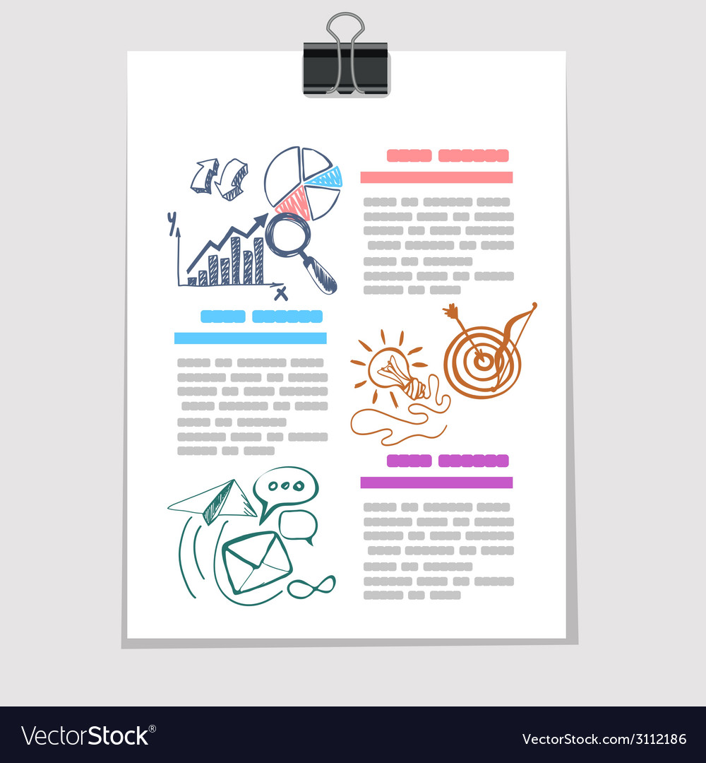 Infographics elements sketch on old sheet of paper vector | Price: 1 Credit (USD $1)