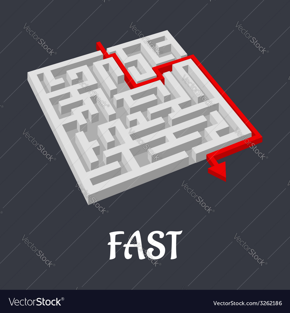 Labyrinth puzzle with a fast short solution vector | Price: 1 Credit (USD $1)