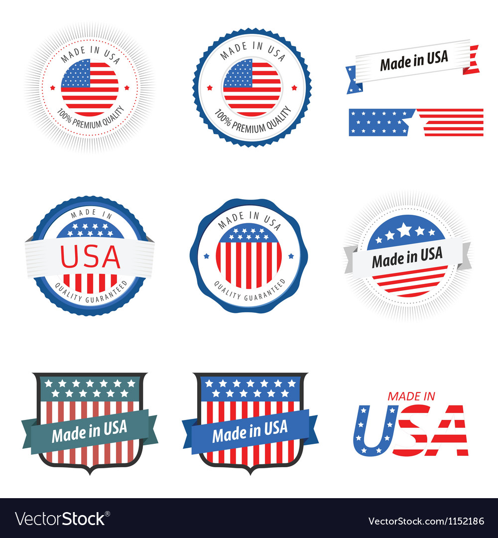 Made in usa labels badges and stickers vector | Price: 1 Credit (USD $1)