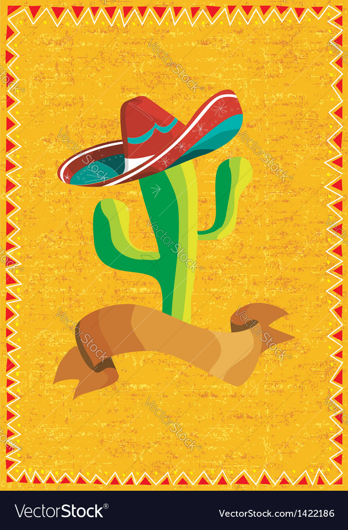Mexican food cactus over grunge background vector | Price: 1 Credit (USD $1)