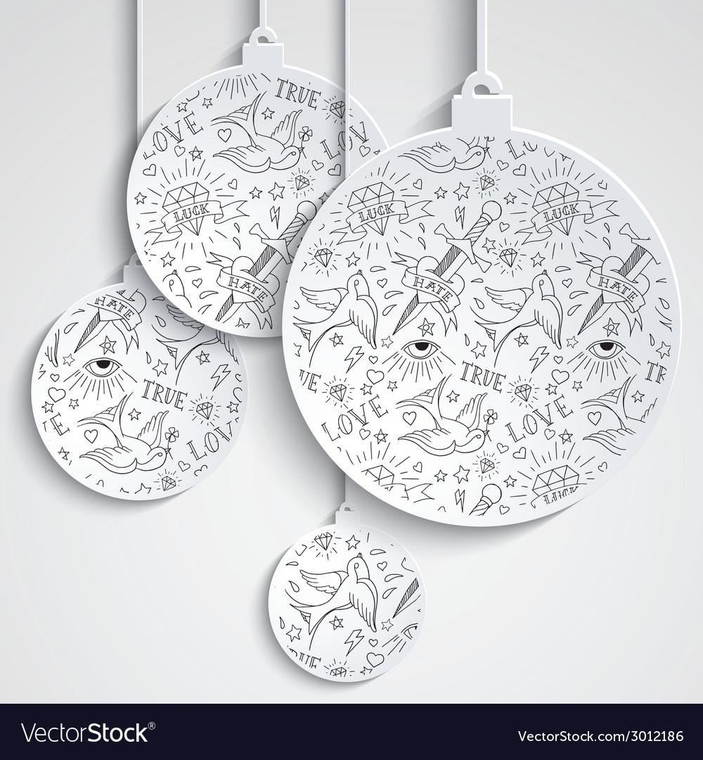 Miminal xmas balls with tattoo pattern vector | Price: 1 Credit (USD $1)