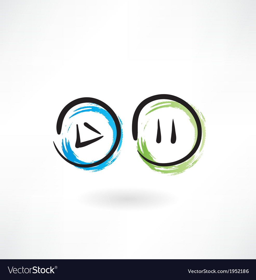 Play pause buttons grunge icon vector | Price: 1 Credit (USD $1)