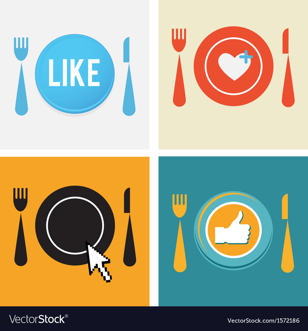 Set of four icons for food and restaurant webs vector | Price: 1 Credit (USD $1)
