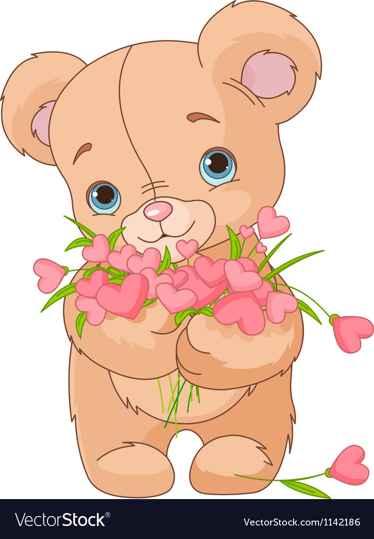Teddy bear giving hearts bouquet vector | Price: 3 Credit (USD $3)