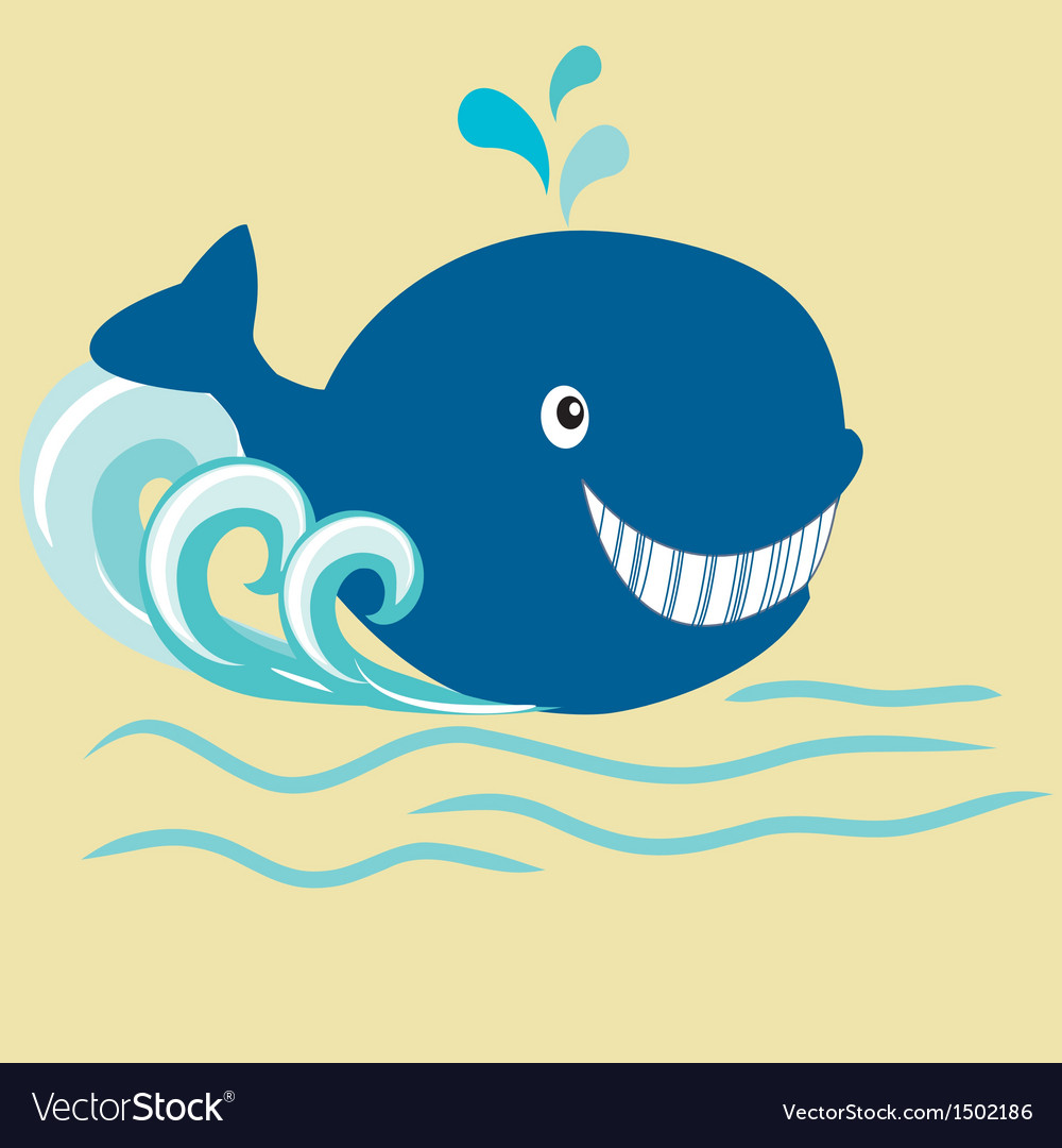 Whale cartoon vector | Price: 1 Credit (USD $1)