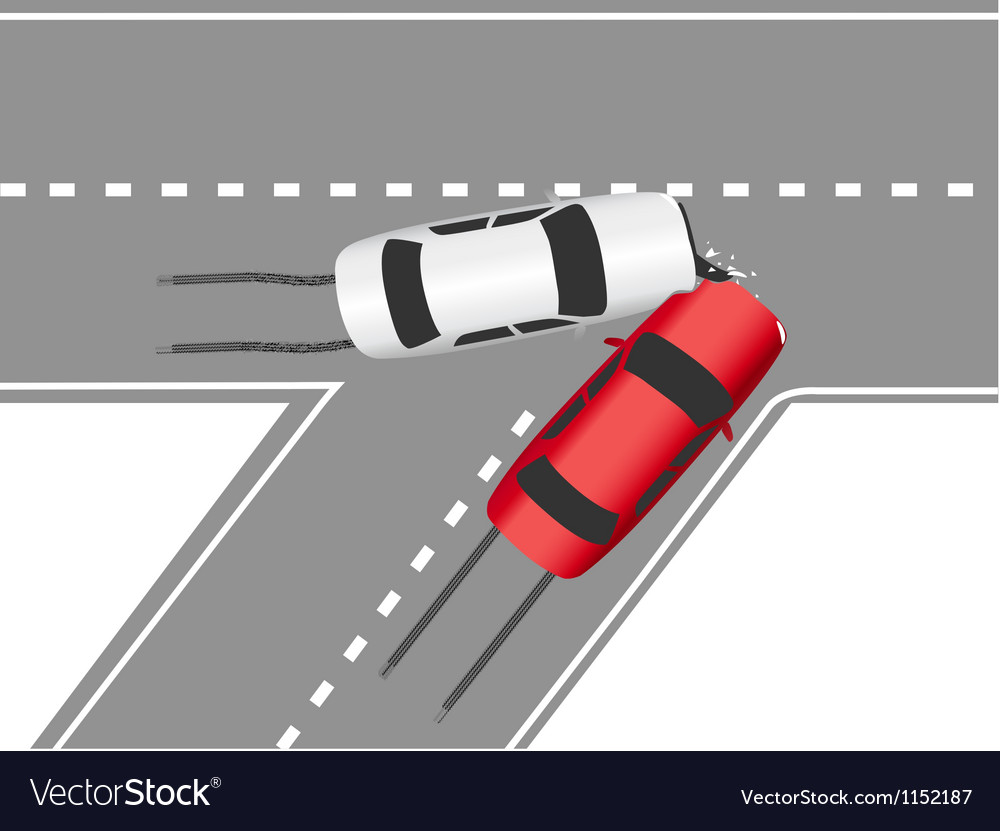 Auto traffic collision road cars vector | Price: 1 Credit (USD $1)
