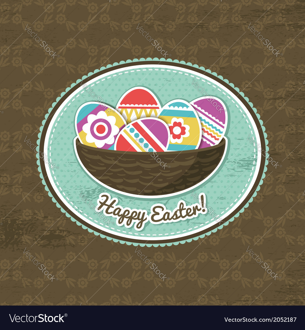 Background with easter eggs and label vector | Price: 1 Credit (USD $1)