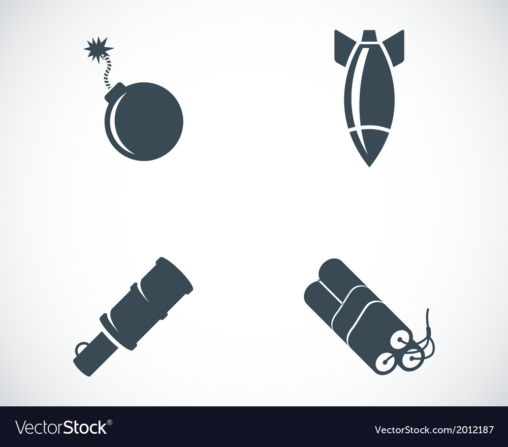 Black bomb icons set vector | Price: 1 Credit (USD $1)