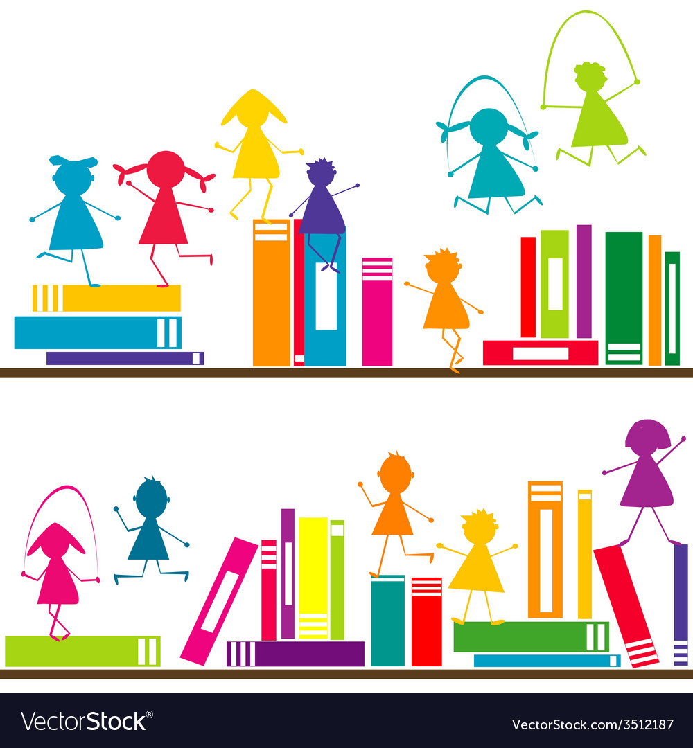 Cartoon children playing on book shelves vector | Price: 1 Credit (USD $1)