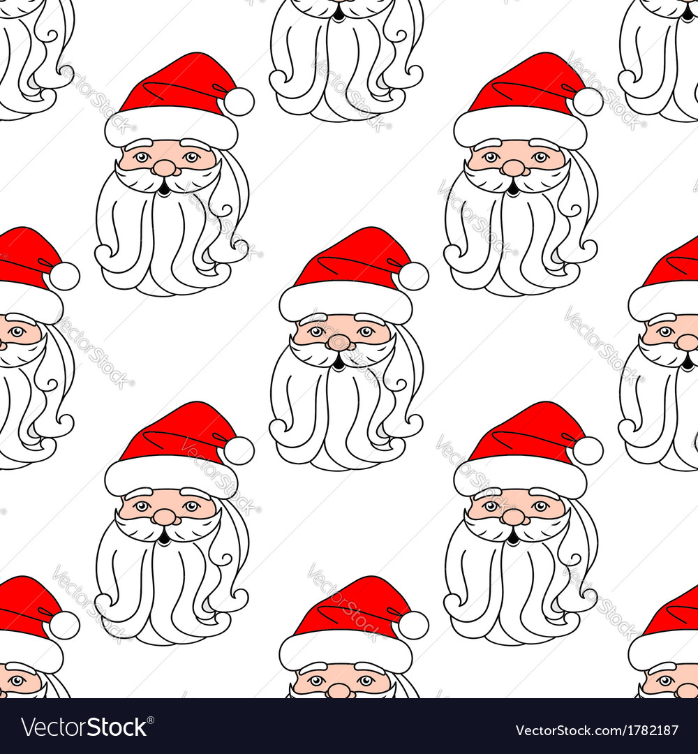 Christmas seamless pattern with santa claus face vector | Price: 1 Credit (USD $1)