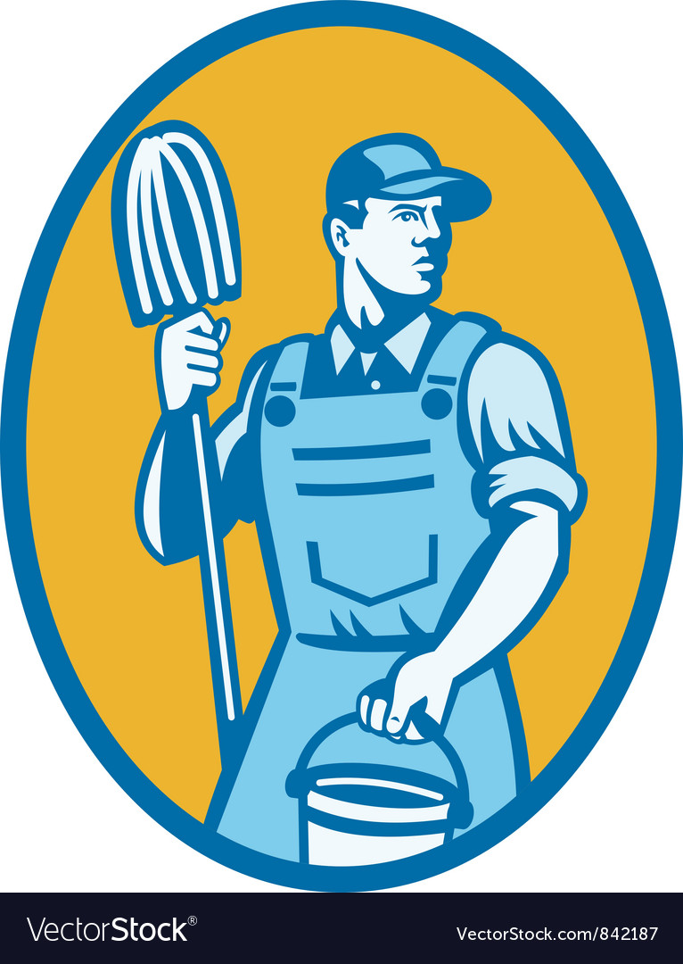 Cleaner with mop and pail vector | Price: 1 Credit (USD $1)