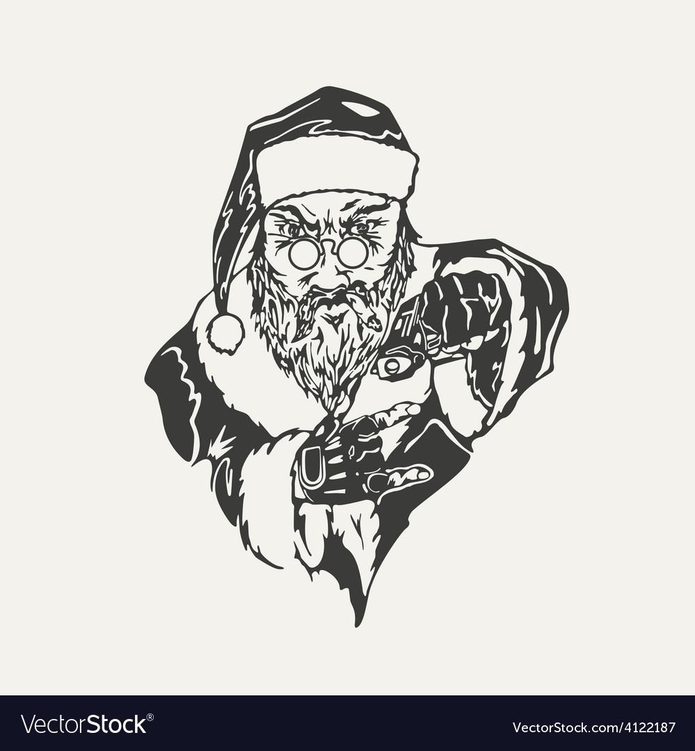 Crime santa claus black and white vector | Price: 1 Credit (USD $1)