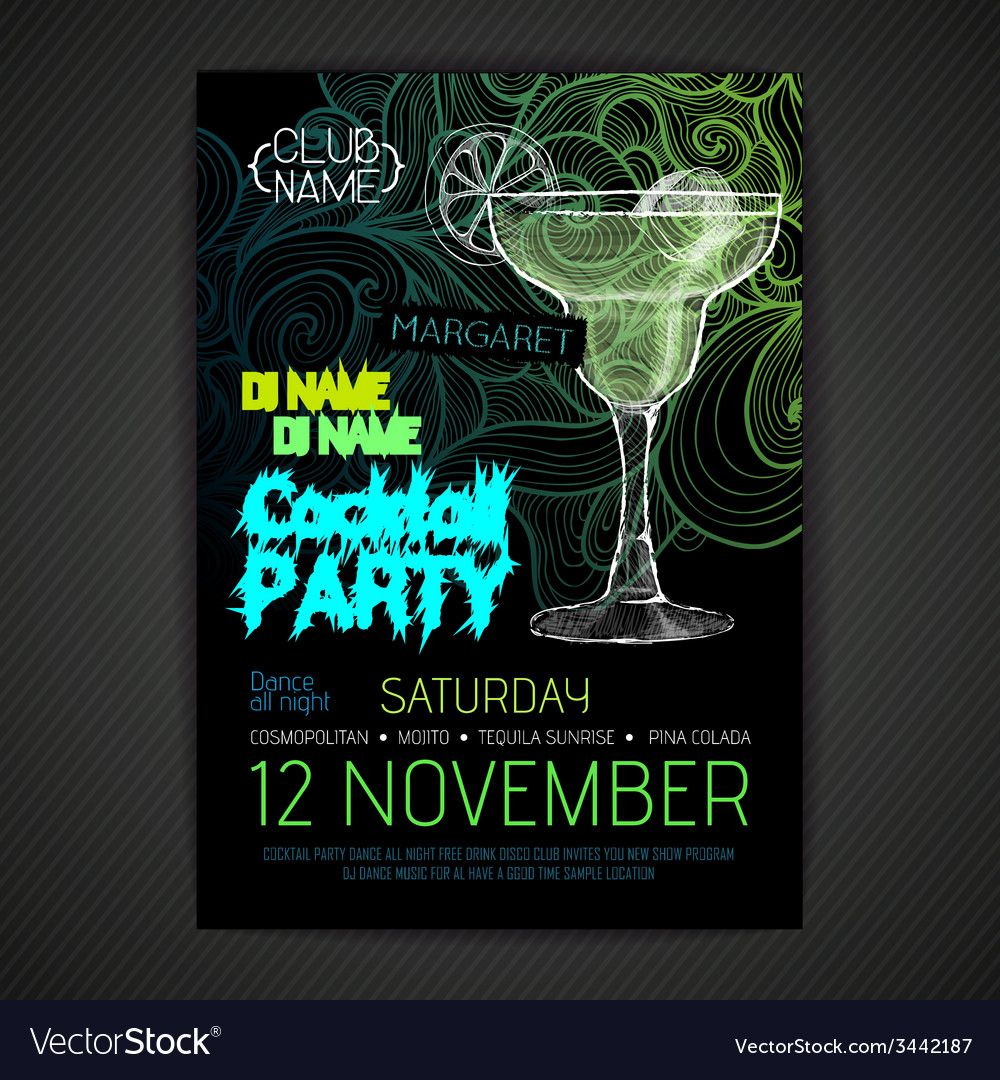 Disco cocktail party poster vector | Price: 1 Credit (USD $1)