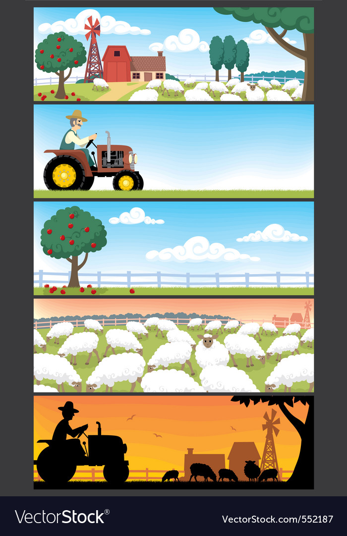 Farm landscapes vector | Price: 3 Credit (USD $3)