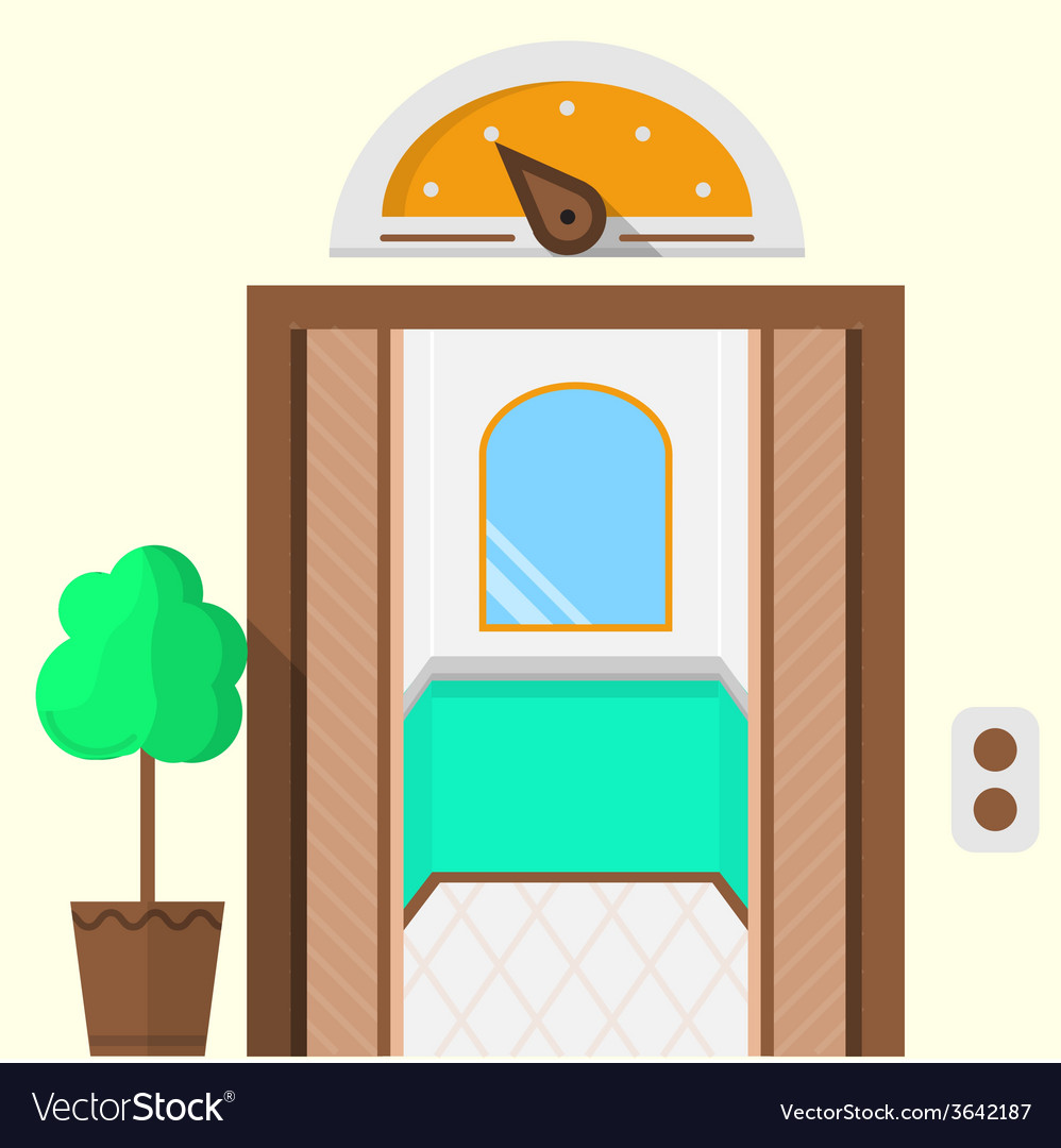 Flat icon for hotel opened elevator vector | Price: 1 Credit (USD $1)