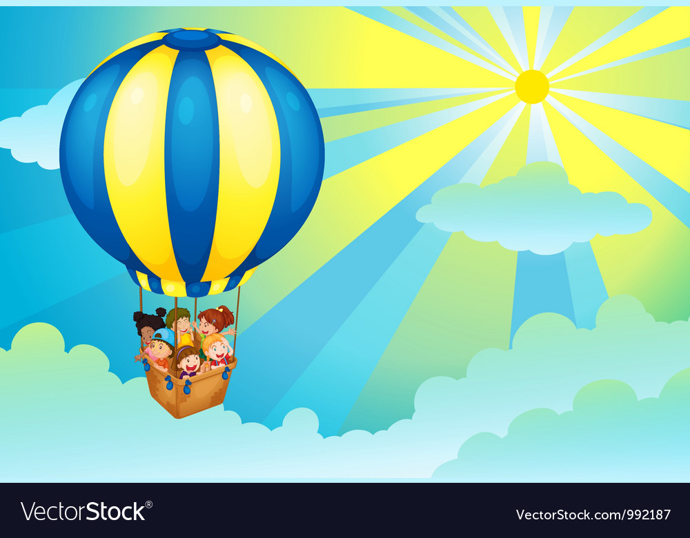 Hot air balloon trip vector | Price: 1 Credit (USD $1)