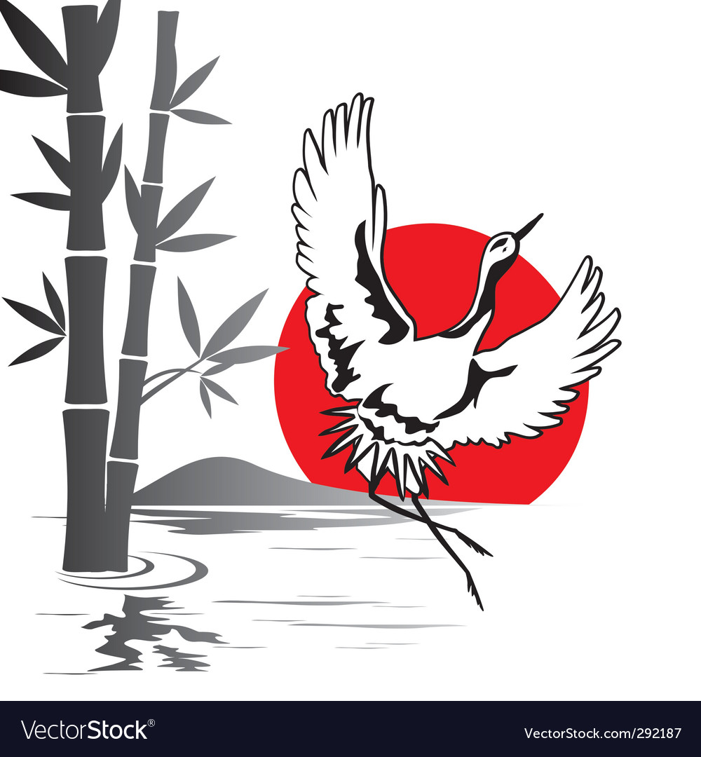 Japanese crane vector | Price: 1 Credit (USD $1)