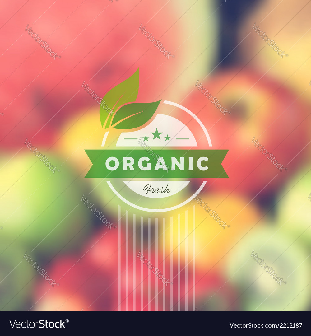 Organic food retro label blurred background vector | Price: 1 Credit (USD $1)